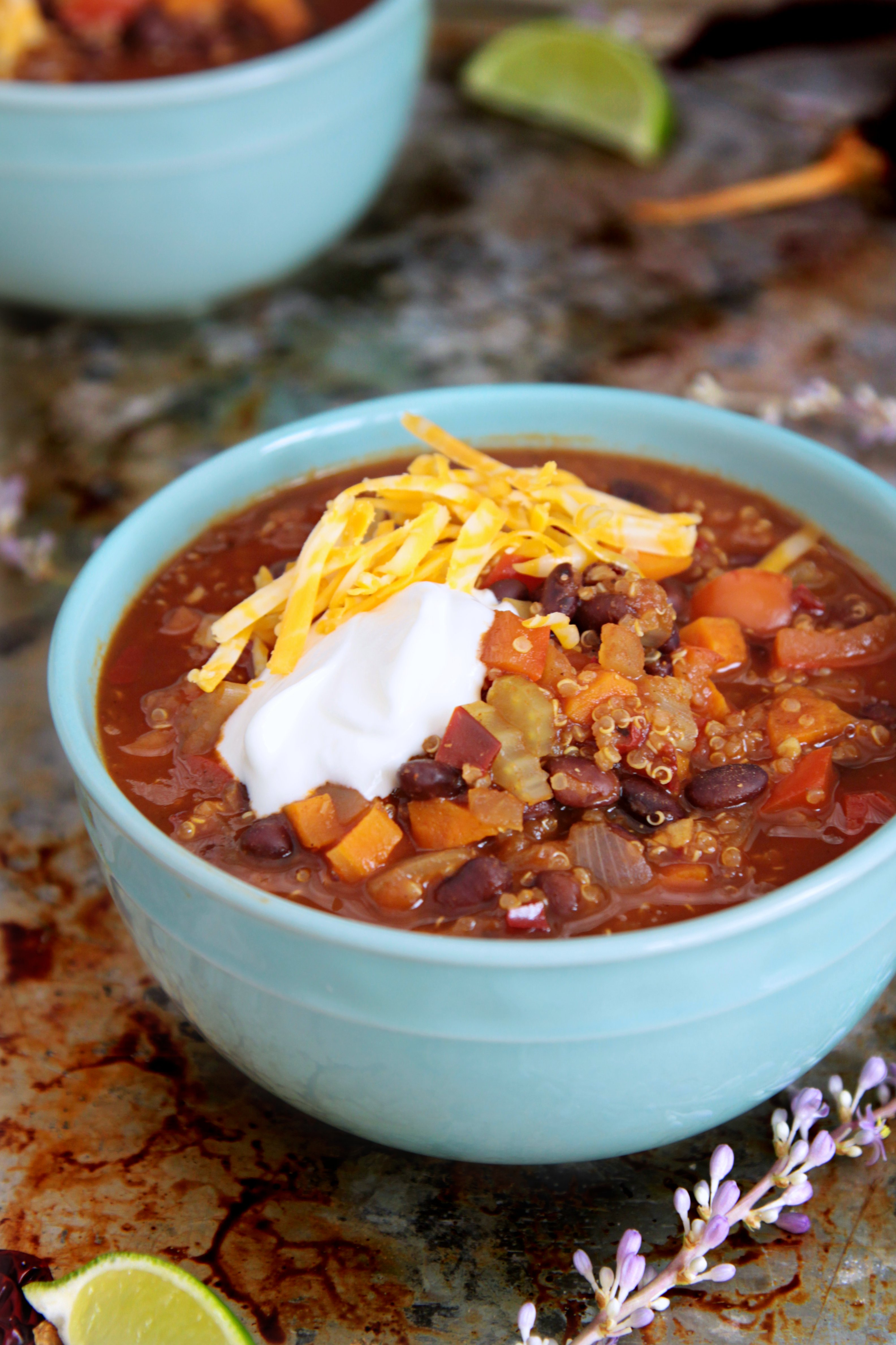 This is the BEST Quinoa + Black Bean Chili you will ever have! Everyone loves it, not just those who like vegetarian recipes. Try it today! The Cheerful Kitchen