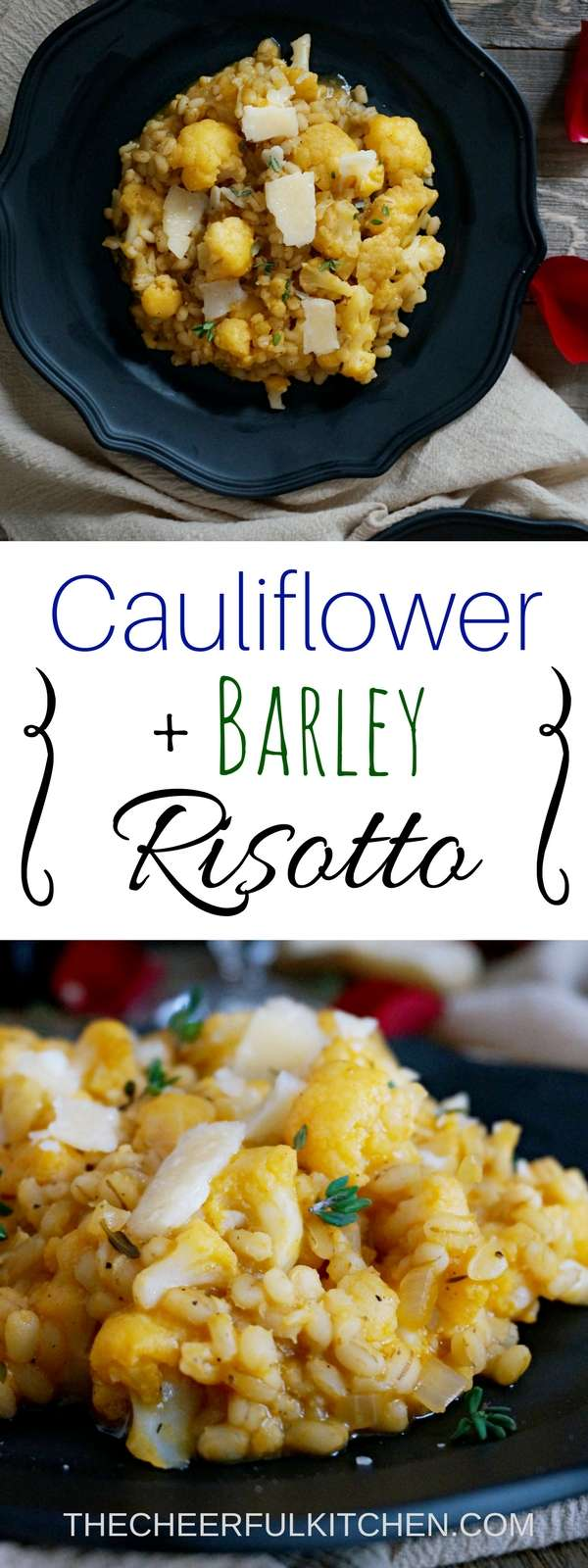 Cauliflower & Barley Risotto is creamy and delicious, and perfect for a date night in! With Voveti prosecco and shaved parmesan, it's an indulgent vegetarian dinner. Get the recipe now at The Cheerful Kitchen!